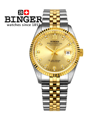 Original Binger Mans Automatic Mechanical Wrist Watch Date Display Watch Self Wind Steel With Gold Wheel Watches New Luxury original binger mans automatic mechanical wrist watch date display watch self wind steel with gold wheel watches new luxury