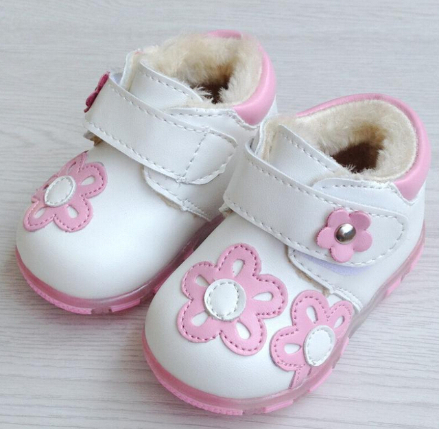 2017 winter new baby 0-3 years old baby shoes cotton shoes baby girls shoes flashing thick cotton princess shoes first walkers
