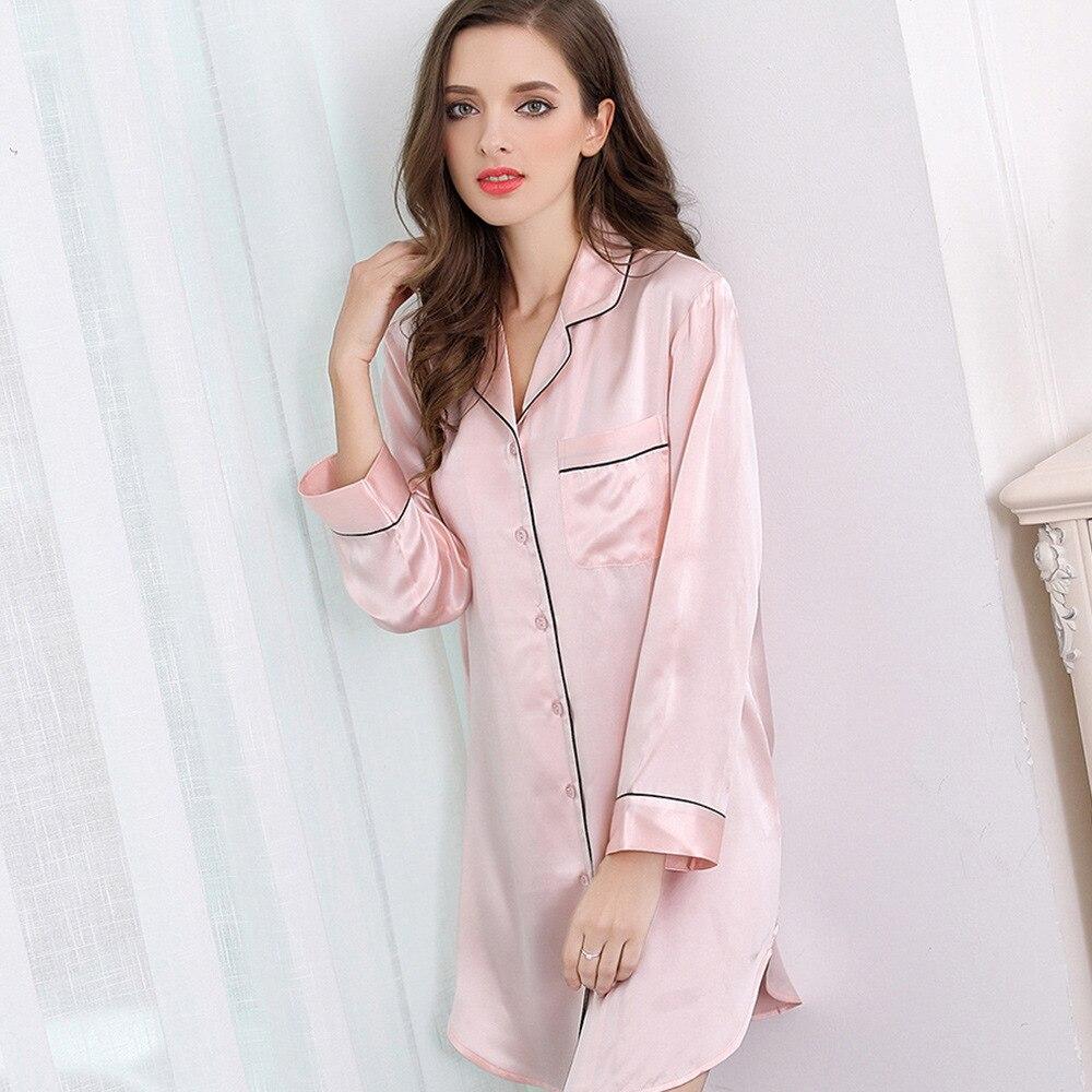 Здесь продается  100% Pure Silk Womens Sleeping Shirt Boyfriend Nightshirt for Women Size M L XL   Одежда и аксессуары