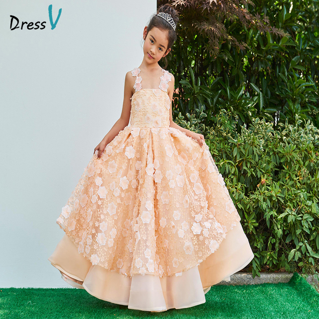 7c29655f3d Dressv Flower Girl Dress A-line Straps Neck Ankle Length Sleeveless  Appliques Flowers Lace Lovely Princess Flower Girl Dress