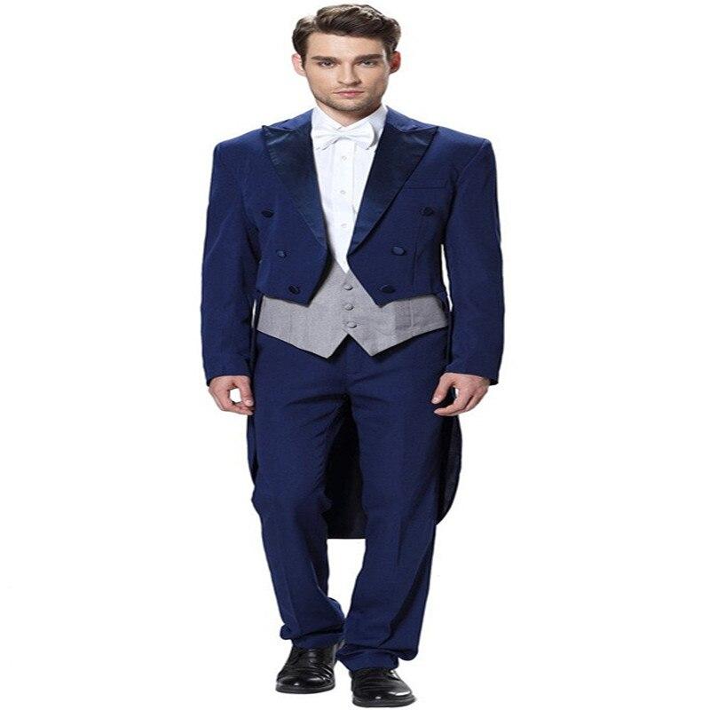 2017 New Arrival Navy Blue Tuxedo Men's Three Piece Wedding suit Tailcoat & Tuxedo Pants Suits Mens Suits for Wedding P