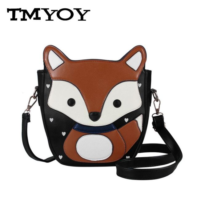 TMYOY New Sweet  Cartoon Fox Messenger Bags Top Quality Vntage Lovely PU Women Leather Handbags Campus Style Women Bag VK028