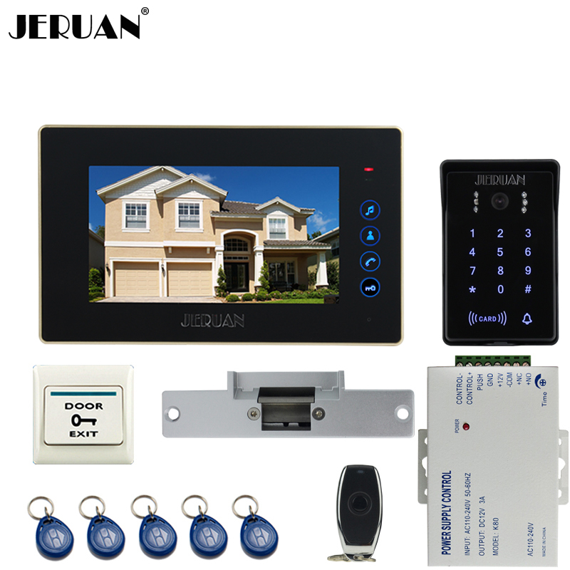 JERUAN Home 7`` LCD video door phone intercom system kit RFID waterproof touch key password keypad COMS IR Camera In Stock jeruan 8 inch lcd video doorphone recording intercom system kit new rfid waterproof touch key password keypad camera 8g sd card