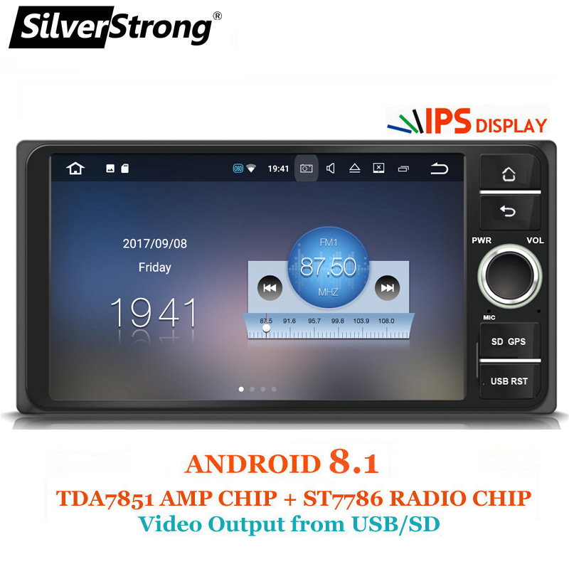 SilverStrong Deux Din IPSAndroid8.1 Universel De Voiture Radio e120 Pour Toyota Corolla 7 pouces Vidéo pour hilux Rav4 prado 4 tuner IPS panneau