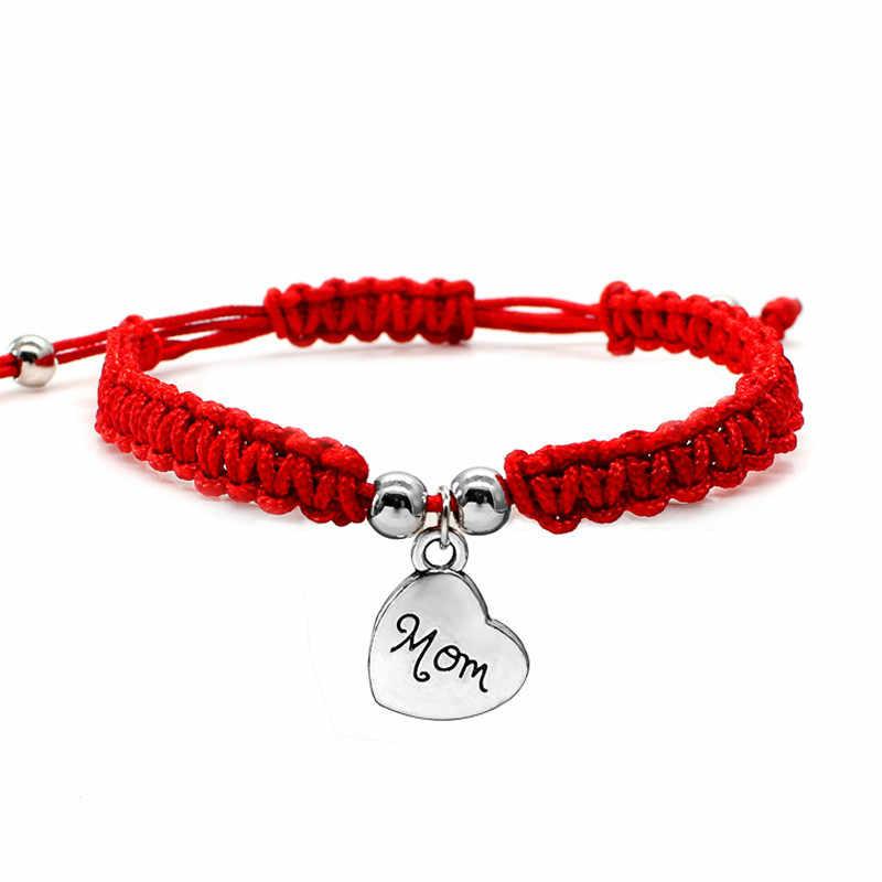 私は愛あなたママ赤糸ジュエリー幸運の宝石ムンためチャームブレスレットベストギフトギフト家族祝福 Bracelete Feminino
