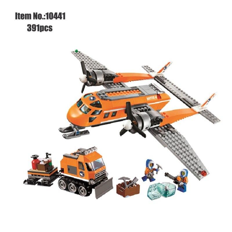 Orange Plane truck Model Building Blocks City Series Arctic Supply aircraft figure brick Educational Toys For Children