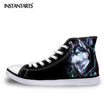 INSTANTSARTS Fashion Spring Vulcanized Shoes Men Cool 3D Animal Printed High top Lace Up Canvas Shoes Male Sneakers Flat Shoes