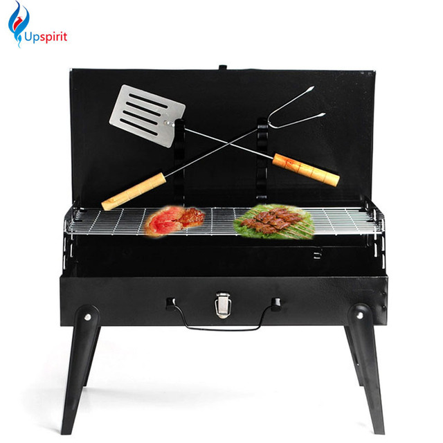 New Folding Portable Charcoal BBQ Grill Steel Camping Oven Charcoal Grill  Shawarma Machine With Barbecue Fork