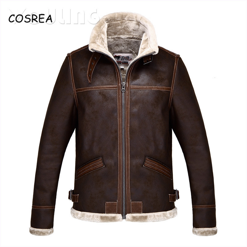 COSREA Resident Evil Costumes Leather Jackets Necklace Winter Jacket Male Long Sleeve Top Boy Faux Leather Coat Cosplay Costumes
