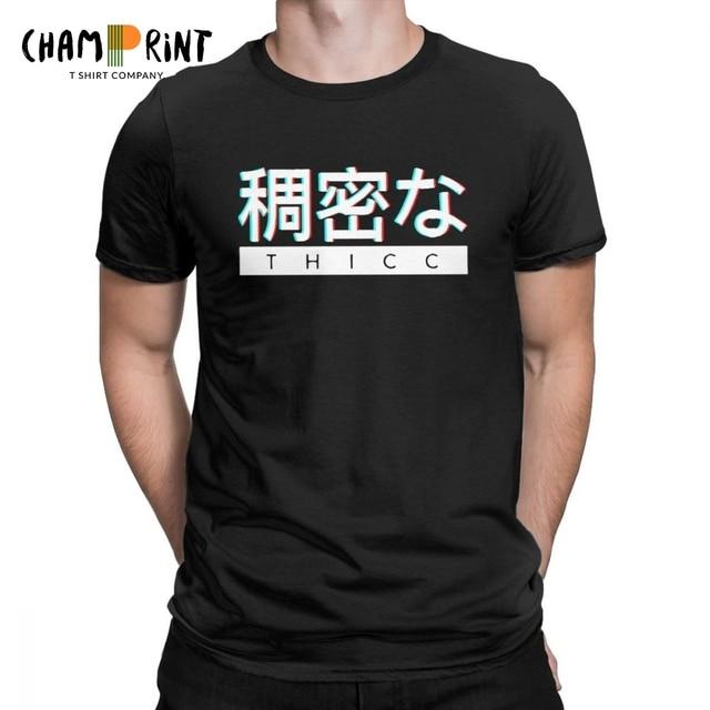 Männer T Shirts Ästhetischen Japanischen THICC Logo Lustige Kurzarm Ästhetischen Vaporwave Tees Crew Neck Kleidung Baumwolle T-Shirts