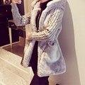 2016 Женщин Зимнее Пальто Полный Рукавом С Капюшоном Теплый Мода Искусственного Меха Верхняя Одежда Дамы Карманы Трикотажные Эластичный Пояс Длинные Пальто