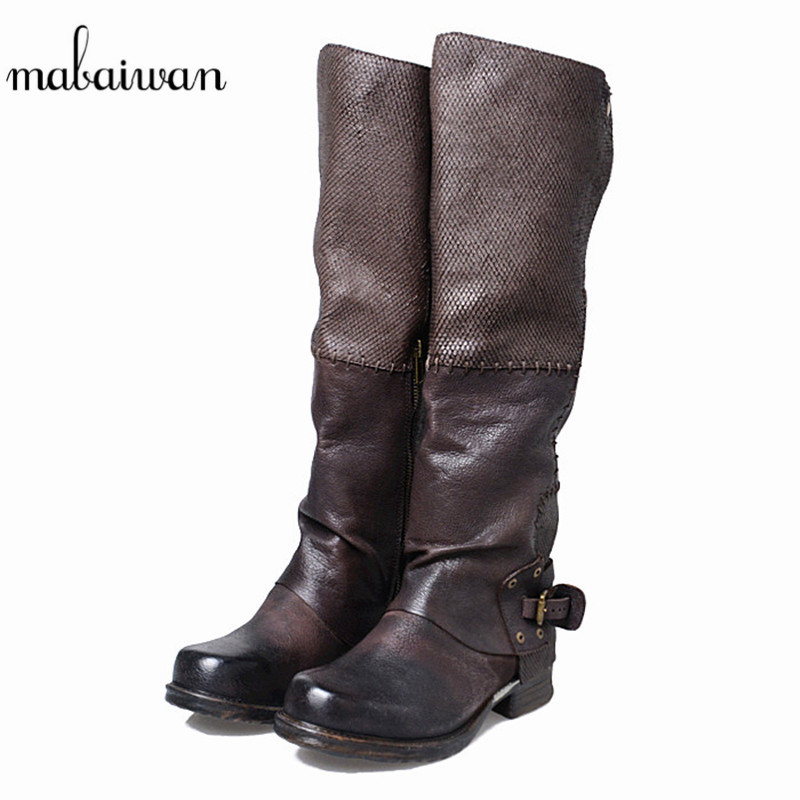 Mabaiwan 2017 New Fashion Genuine Leather Snow Knee High Boots Women Shoes Autumn Winter Military Boots Black Shoes Women Flats classicone woman shoes winter boots genuine leather suede knee high boots flats fur snow boots shoes women s brand fashion style