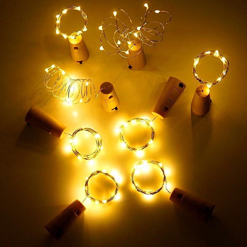 10Pcs/Lot 2M 20Leds Wine Bottle Stopper LED String Waterproof Copper Fairy Strip DIY Cork LED Light For Wedding Party Christmas