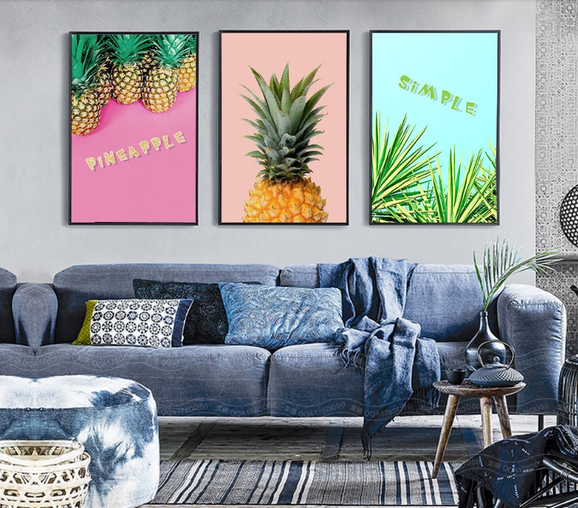 Nordic Minimalist Golden Pineapple Modular Print Picture Wall Art Canvas Paintings Decoration for Living Room No Framed