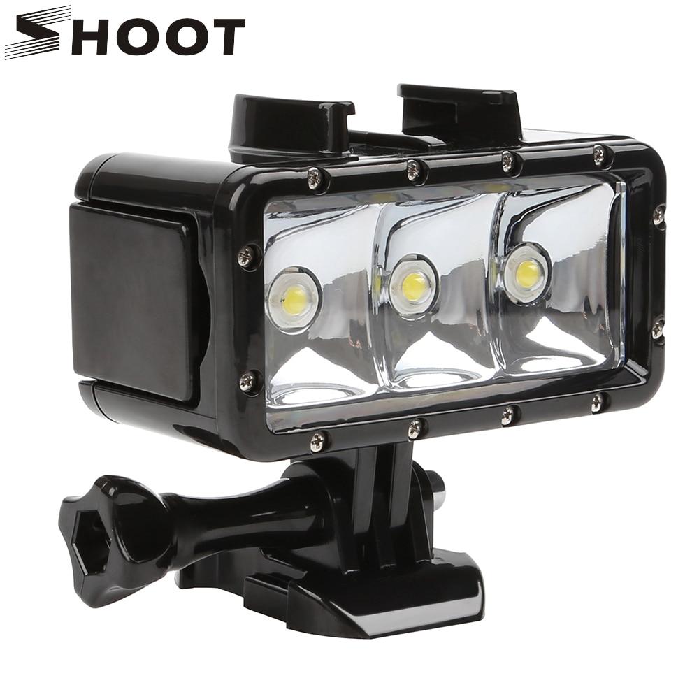 SHOOT For GoPro LED Underwater Diving Lighting Fill In Lamp Video Light For GoPro Hero 8 7 6 5 Black Xiaomi Yi 4K Sjcam Accesory