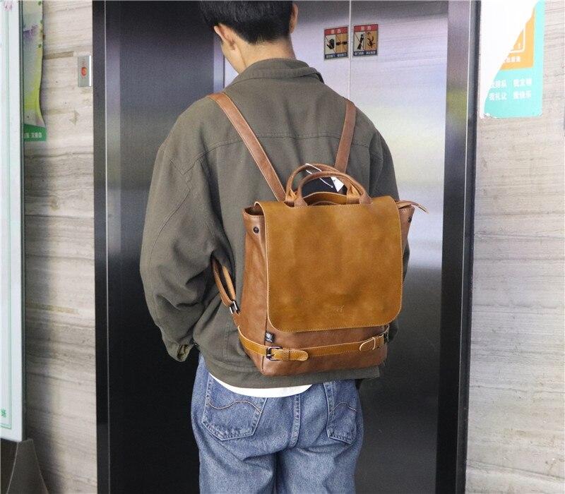 Oriental Element Classic PU Leather Backpack for Men School College Casual Travel Mochila El Hombre Carteira
