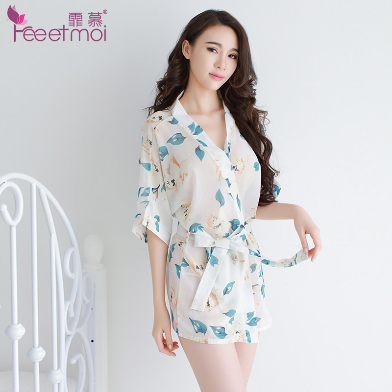 Feeetmoi Kimono Babydoll Sexy Lingerie Frauen Nachtwäsche Chiffon Druck Dessous Sexy Hot Erotic Kostüme Kleid + Gürtel + T-zurück