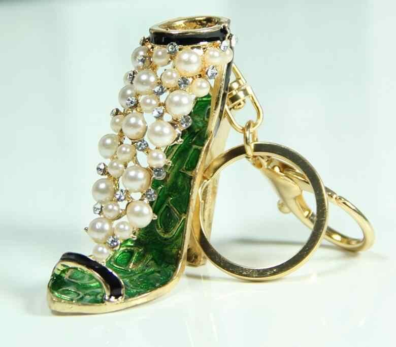 Min. $15 (Mischauftrag) 5 farben strass perlen hochhackige schuhe anhänger schlüsselbund Legierung Dekoration charme