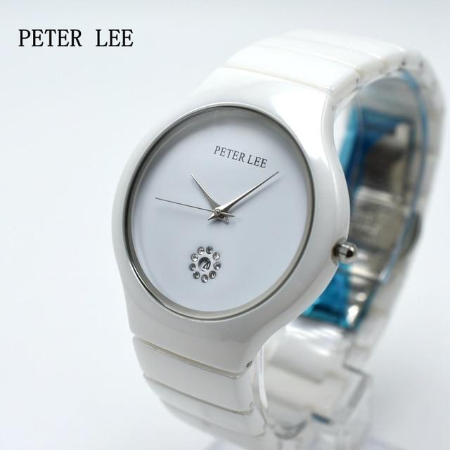 PETER LEE Luxury Brand Ceramic Watch Women Fashion Simple Waterproof Quartz Watch Lady Elegant Business Clock Women Dress Watch