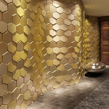3D Leather Wall Sticker Peel and Stick Tiles Faux Leather Wall Panels 3D Hexagon Gold