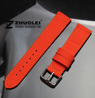 Watch Band 20mm Orange Nylon Canvas Durable Sport Padded Watch Strap Comfortable Leather Lining Free Shipping
