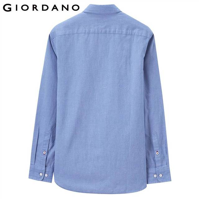 Giordano Men Slim Shirt Long Sleeve Shirts For Men 100% Cotton Interlock Shirt Men Casual Camisa Masculina Chemise Homme 2