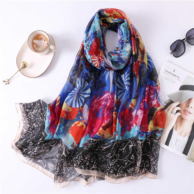 2019 di estate di grandi dimensioni sciarpa per le donne sciarpe di seta scialli e impacchi di pashmina della signora morbido della stampa protezione solare bandana hijab beach stole