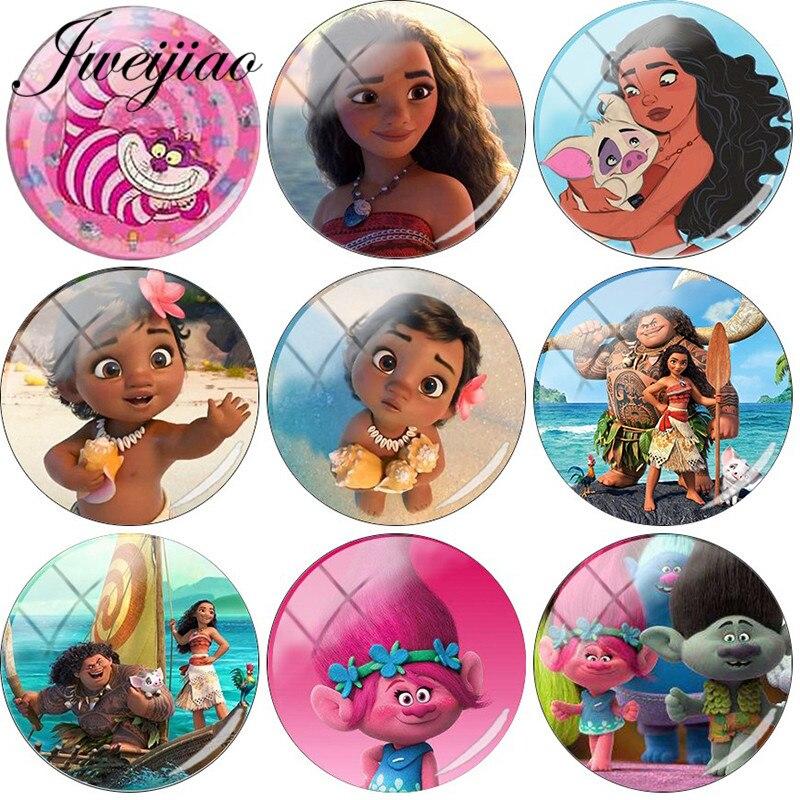 JWEIJIAO Cartoon Princess Moana Photo DIY Glass Cabochon & Glass Dome For Keychain Bracelet Earrings Jewelry Findings Custom(China)