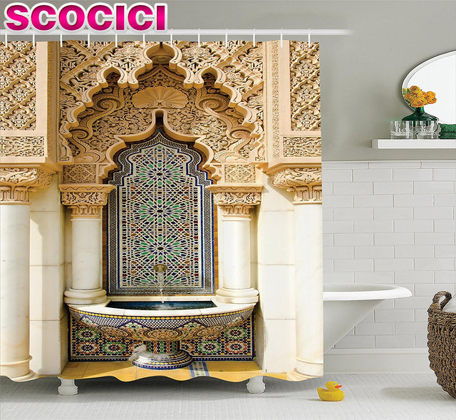 housing decor. Moroccan Decor Shower Curtain Vintage Building Design Islamic Housing Art  Historic Exterior Facade Mosaic Picture Polyester