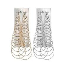 earrings for women 12Pairs/set Vintage Silver Gold Big Circle Women Steampunk Dangle Earring Metal Jewelry