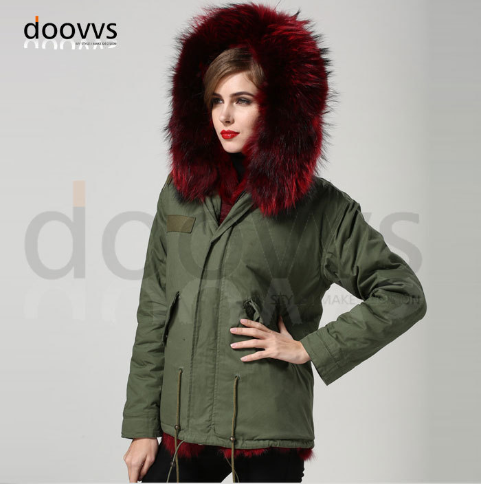 Anggur merah nyata bulu rubah kerah mantel bulu rubah nyata jaket - Pakaian Wanita - Foto 6