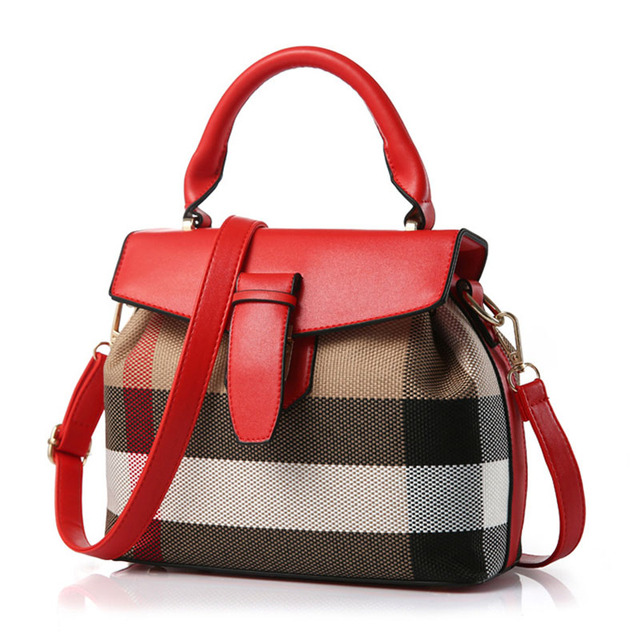 Plaid Women Top-handle Bags Linen Messenger Bags Women PU Patchwork Handbags Female Totes Red Shoulder Bag Crossbody #15To31/9-2