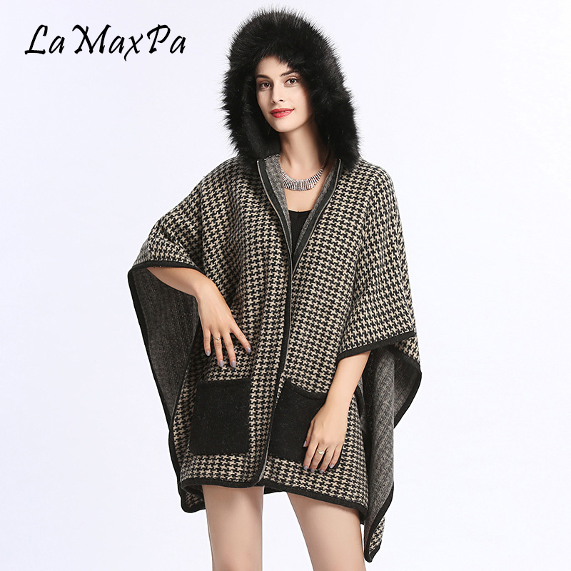 LaMaxPa Women Fur Shawls Houndstooth Plaid Shawls Sweater Shawl Poncho Faux Fur Stoles Femme Fausse Fourrure Mujer Falso Pelaje