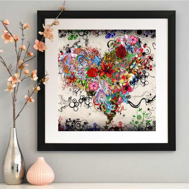 5D DIY Diamond Painting Heart Shape Full Diamond Covered Painting Art Adults Paint By Number Kits Paints