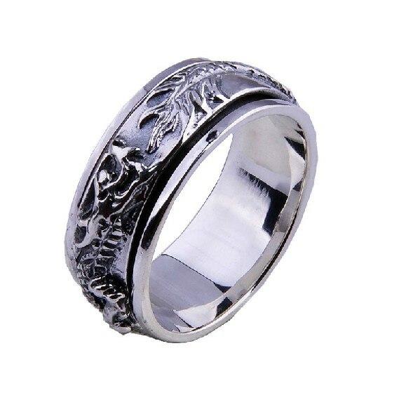 Handmade 925 Silver Dragon Spinning Ring Vintage Thai Silver Dragon Power Turning Ring Pure Silver Spinner