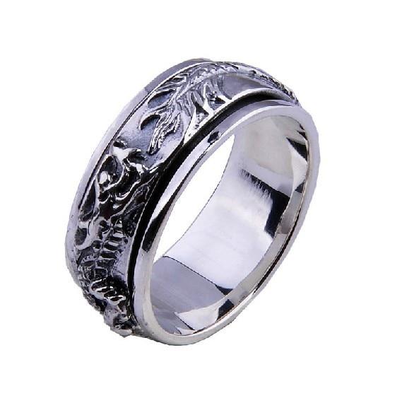 Handmade 925 Silver Dragon Spinning Ring Vintage Thai