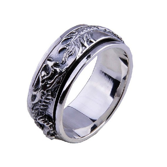 Handmade 925 Silver Dragon Spinning Ring Vintage Thai