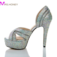 High Quality AB Color Crystal Bridal Dress Shoes Open Toe Shape Fashion Graduation Party Shoes Sparkly High Heel Summer Sandals
