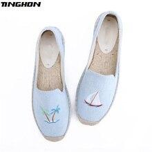 TINGHON Fashion Women Ladies Espadrille Shoes Canvas Embroidery Coconut tree Rome Ankle Strap Hemps Flats