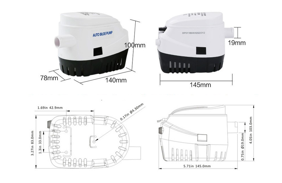 1100gph dc 12v 24v automatic bilge pump for boat with auto float