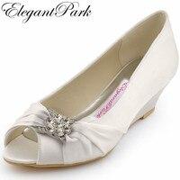 New Design Elegant WP1403 White Peep Toe Rhinestone Satin 2 Wedge Heel Wedding Bridal Shoes
