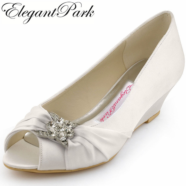Woman Wedding Wedges WP1403 White Ivory Silver Peep Toe Rhinestone Med Heels Satin Ladies Bride Bridal