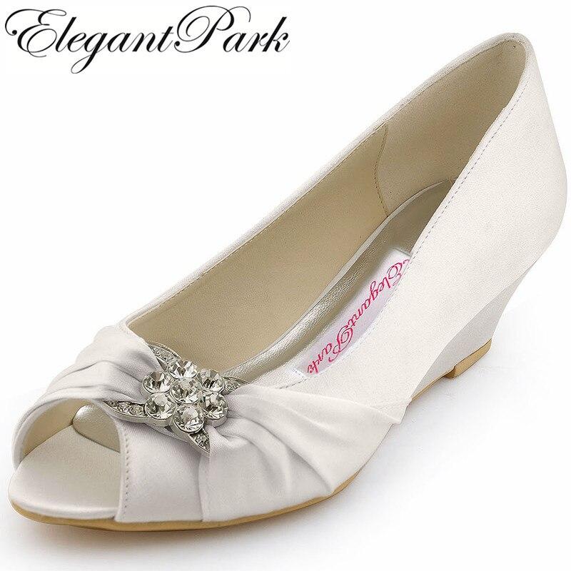woman shoes elegant wp1403 white ivory peep toe rhinestone satin wedge med heel womens wedding bridal shoes woman heels wedding