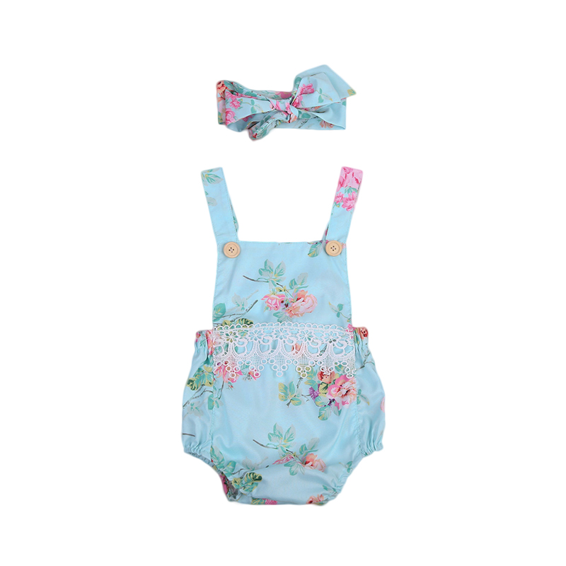 New Fashion UK Stock Toddler Baby Girl Clothes Blue Floral Romper Sleeveless Lace Jumpsuit Headband 2PCS