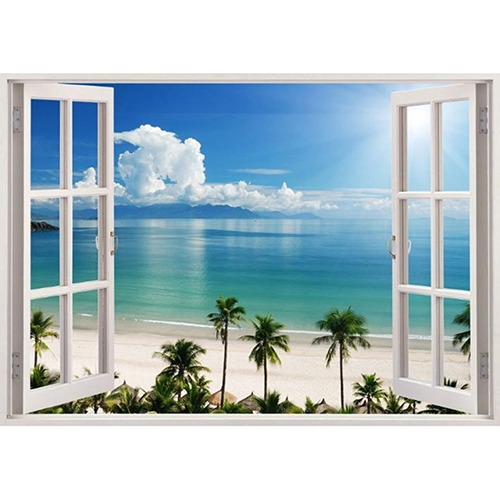 3d faux window exotic beach view pattern wall sticker home for Beach view wall mural