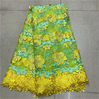2019 New arrival yellow color Guipure African Lace Fabric Tulle Rhinestone French Net Lace High Quality Embroidered Lace Fabrics