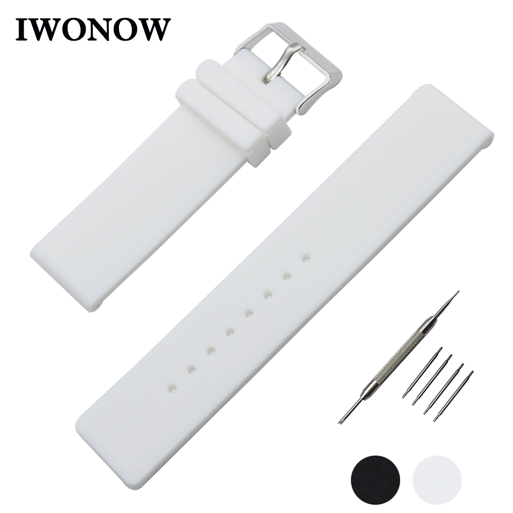 Silicone Rubber Watch Band 20mm 22mm 24mm for Diesel Stainless Steel Pin Buckle Strap Wrist Belt Bracelet Black White + Tool 20mm 22mm silicone rubber watchband for tag heuer carrera watch band curved end strap steel buckle belt wrist bracelet black