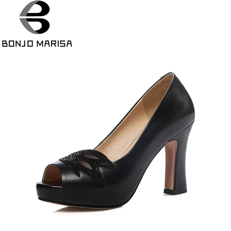 BONJOMARISA 2018 Spring Autumn Genuine Leather Elegant Peep Toe Bling Pumps Shallow Big Size 33-40 High Heels Party Shoes Woman купить дешево онлайн