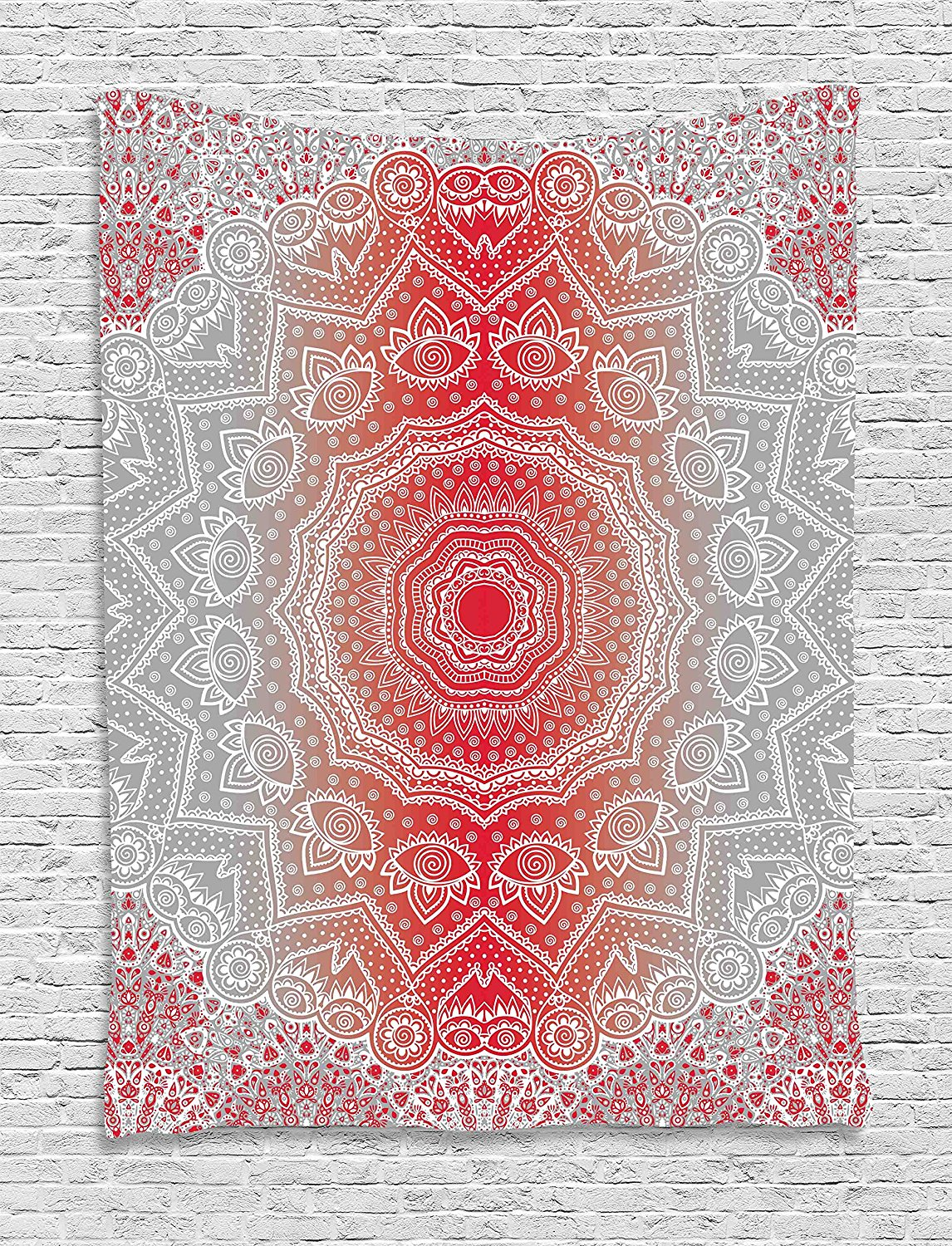 Grey and Red Tapestry, Ethnic Eastern Cultural Folk Deity and Mystic Boho Zen Ombre Mandala Art Design, Wall Hanging for Bedroom
