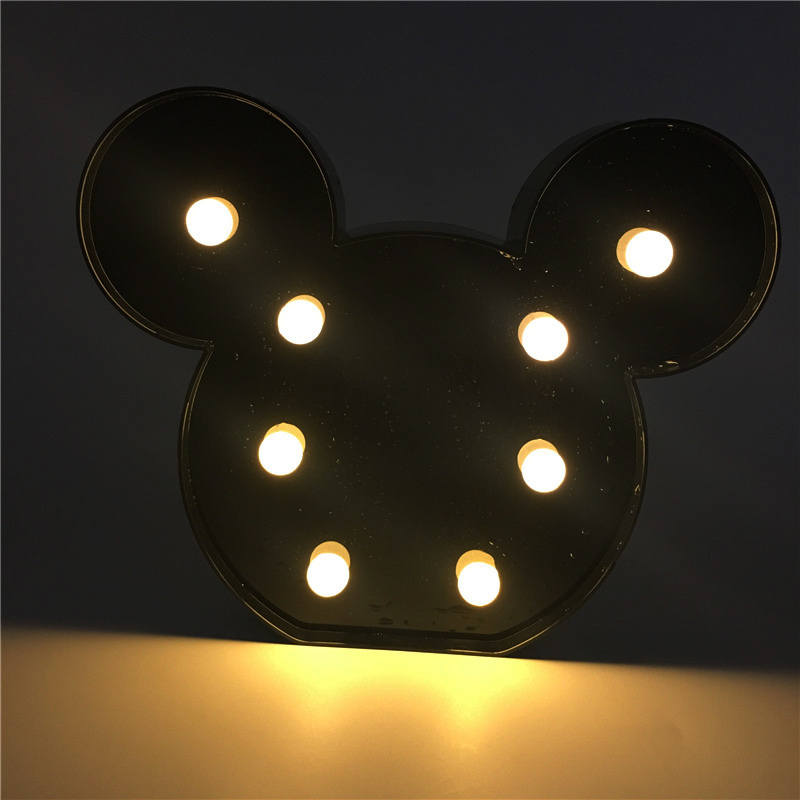 Christmas Decoration 3D Night Lights Cartoon Mickey Marquee LED Letter Lamp For Baby Bedroom Decoration Kids Gift Lampada Led